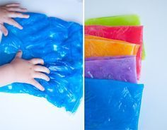 """""""Goo bags - recipe for goo.  I've had it suggested to use an entire bottle of dollar store hair gel, but this is probably just as inexpensive, and you can make whatever VIBRANT colours you want."""" Letter writing with fingers or Q-tips."""