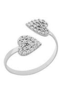 Double Heart Midi Ring