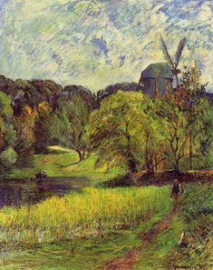 Paul Gauguin (French, 1848-1903), The Queen's Mill, 1881, oil on canvas, oil on canvas, 92.5 x 73.4 cm.  Gauguin spent the summer of 1881 painting with Pissarro and Cezanne at Pontoise. Imagine the energy of the French countryside and the vigor of the brushstrokes to capture such breezy air and light.