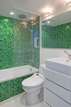 , Adorable Eclectic Bathroom Trends With Green Mosaic Tiling Wall Also White Toilet And Washbasin Also Minimalist Vanity Design With Modern Mirror Without Frame Also Modern Shower Head And Glass Shower Divider: Wall and Floor Bathroom Tiling Designs Mosaic Bathroom, Bathroom Wallpaper, Mosaic Tiles, Wall Tiles, Eclectic Bathroom, Bathroom Interior, Modern Bathroom, Lime Green Bathrooms, Bathroom Green