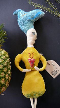 Sea Bride fabric art doll soft sculpture folk art by pantovola