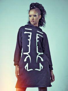 ZEF2DEATH Long hoodie with glow in the dark lettering side pockets ninja wear futuristic jacket cyber UV by ZEF2DEATH on Etsy