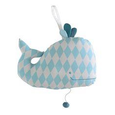 Babyspieluhr Wal aus Baumwolle H 20 cm