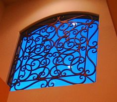 Faux wrought iron window insert