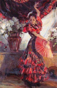 Painting of flamenco dancer. @@@@¡¡¡¡¡.....http://www.pinterest.com/heatherdonaghy3/spanish-style/ €€€€€€€€€€€€€~~~~~~~~~~~~~~