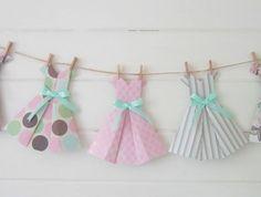 "Paper Scissors Frock ~Vintage Paper Dress Bunting ~ ""Bonjour Baby"""