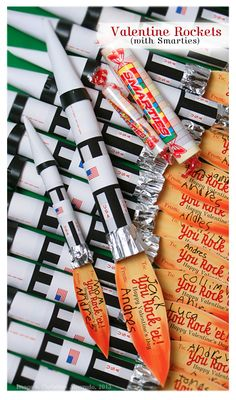 Valentine_Rockets for lg and small smarties with free printables and tutorial.