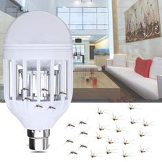 Two Working Modes Anti-Mosquito Electronic Insect Fly Zapper LED Light Bulb Belize, Flying Insects, Led Lampe, Holiday Lights, Montenegro, Barbados, Mudroom, Light Bulb, Nocturne