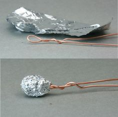 Aluminum foil wrapped in a ball fixed to a wire figure armature.