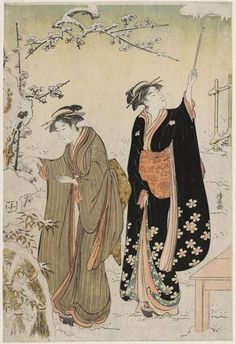 Torii Kiyonaga: Women in Snowy Garden - Museum of Fine Arts
