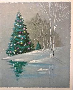 Christmas tree, birch and reflection Watercolor Christmas Cards, Christmas Tree Painting, Christmas Canvas, Winter Painting, Winter Art, Vintage Christmas Cards, Retro Christmas, Watercolor Cards, Christmas Art
