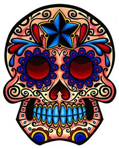 This is the female half of a pair of mexican skulls. I love the traditional mexican skulls, they are amazing. This one I drew with a bit of a Rockabilly. Sugar Skull Images, Sugar Skull Artwork, Sugar Skull Design, Crane, Mexican Sugar Skulls, Day Of The Dead Skull, Sugar Skull Tattoos, Skull Painting, Body Painting