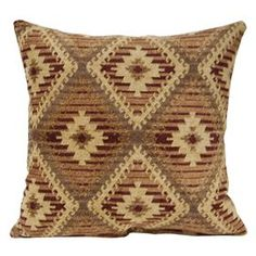 "Pillow with a Southwestern-inspired motif. Made in the USA.  Product: Set of 2 pillowsConstruction Material: Rayon and polyesterColor: SierraFeatures:  Insert includedKnife edge finishMade in the USA Dimensions: 17"" x 17"" eachNote: Hand or spot clean only"