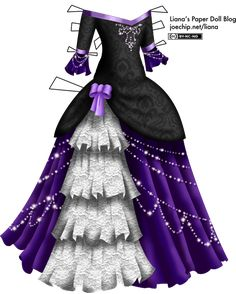 Masquerade Gown with Black Velvet Bodice, White Lace, Purple Skirt. - Masquerade Gown with Black Velvet Bodice, White Lace, Purple Skirt and Glittering Strands Masquerade Dresses, Masquerade Masks, Masquerade Party, Paper Dolls Printable, Purple Skirt, Dress Sketches, Fairy Dress, Vintage Paper Dolls, Drawing Clothes