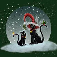 Winter Christmas Holiday fantasy black cat art print door AshEvans, $15.00