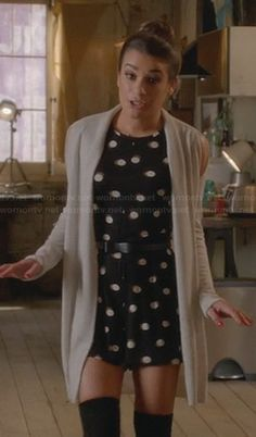 I loved this outfit she had. Rachel's polka dot romper on Glee.  Outfit Details: http://wornontv.net/23497/ #Glee
