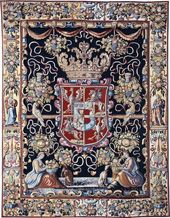 Tapestry with the coat of arms of Anna Catherine Constance (1619–1651), daughter of Grand Duke of Lithuania and King of Poland Sigismund Vasa, Brussels, 1630–1640 (Munich