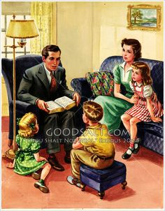 It has a watermark, but it's just too sweet not to repin! I love our evening family Bible times, and Dad reading us Bible stories are some of my favorite childhood memories!
