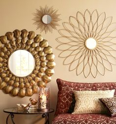 Mirrors with golden detail make a sophisticated statement