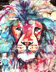 African Lion Watercolor -