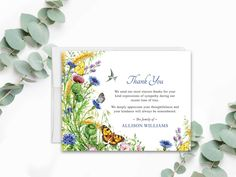 Sympathy Acknowledgement Cards, Funeral Thank You and Bereavement Notes, Personalized Butterfly and Flowers, Customized Wording For Funerals