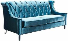 Maybe move my bed and make a cute little seating area??  Luxurious Elegant Crystal Deep Blue Velvet Sofa Couch Tufted Back Design New FS