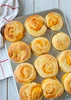 Garlic Cheddar Swirled Brioche Rolls (No Knead!)