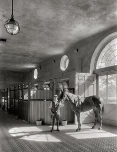 """Caumsett Manor """"Marshall Field Estate at Lloyd Neck, Interior View of Polo Stables with marble floor tiles"""" October Huntington, Long Island, New York Photo by Samuel H. Dream Stables, Dream Barn, Horse Stables, Horse Farms, Vintage Photographs, Vintage Photos, Antique Photos, Shorpy Historical Photos, Equestrian Style"""