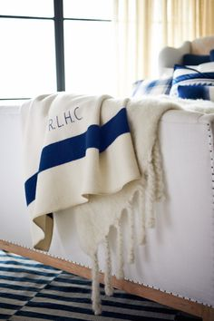 Layering luxe textiles, the ultra-soft North Alton Throw Blanket with the plush Ridge Mohair Throw