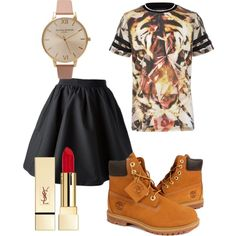 A fashion look from August 2014 featuring Acne Studios mini skirts, Timberland boots and Olivia Burton watches. Browse and shop related looks.
