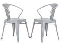 Merax Stackable Metal Dining Chairs Vintage Outdoor Side Back Chairs with Arms, Grey, Set of 2 Vintage Dining Chairs, Fabric Dining Chairs, Flying Boat, Tasting Room, Free Delivery, Vintage Items, Arms, Beige, Outdoor