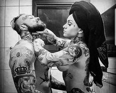 """""""When a man truly loves a women she becomes his weakness. When a women truly loves a man he becomes her strength. This is called Tattooed Couples Photography, Jagua Henna, I Love Beards, Brust Tattoo, Beard Styles For Men, Beard Tattoo, Body Modifications, Couple Tattoos, Sexy Tattoos"""