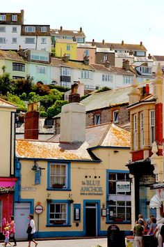 Brixham, historic fishing town on the coast of Devon, England. (Photo by debsdustbunny)