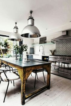 20 Insanely Gorgeous Upcycled Kitchen Island Ideas - Raumgestaltung - Unique Kitchen Island made from an upcycled industrial table - Industrial Kitchen Design, Industrial Table, Industrial House, Industrial Interiors, Industrial Furniture, Kitchen Interior, Kitchen Decor, Industrial Kitchens, Vintage Industrial