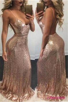 Backless Spaghetti-Strap Sexy Mermaid Sequins Prom Dress PD20188550