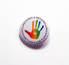 Love is Love button, Same Sex Marriage, LGBT Pin, Pinback buttons, Lapel Pin, Tolerance, lgbt rights, Love is love pin, Rainbow Heart (7342) by KellysMagnets on Etsy