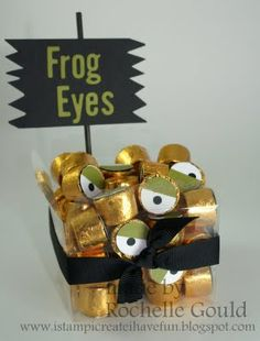 Yummy Frog Eyes made with Rolo candy and circle punches.