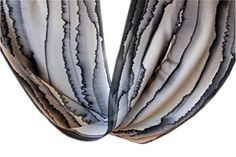 """Image of """"Black line"""" hand-painted silk scarf by Asta Masiulyte"""