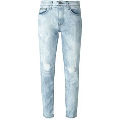Current/Elliott Cropped Ripped Slim Jeans ($181) ❤ liked on Polyvore featuring jeans, blue, destroyed skinny jeans, ripped skinny jeans, distressing jeans, blue jeans and destructed jeans