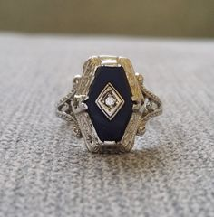 Antique Ostby Barton Black Onyx Diamond Ring by PenelliBelle
