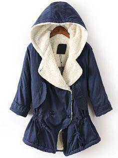 Blue Hooded Long Sleeve Drawstring Trench Coat - Sheinside.com