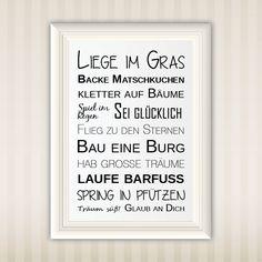 Liege im Gras ... | Typo | Poster | Wall Art | Design | Print | Druck | schöne Sprüche