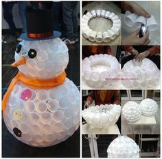 Snowman made with plastic disposable cups