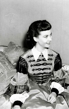 """Vivien Leigh on the set of """"Gone with the Wind."""""""