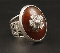 Carnelian Agate Artisan Sterling Silver Ring from Ringed on Ruby Lane