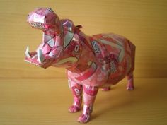 aluminum can sculpture - hippo