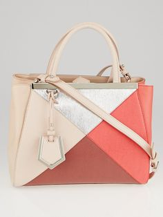 755bb7dcd856 Fendi Pink Silver Colorblock Saffiano Leather Petite Sac 2jours Elite Tote  Bag 8BH253