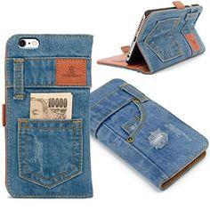 本格デニム iPhone6s plus / iPhone6 plusアイフォン6プラス / アイフォン6sプラスケース カバー 手帳型 保護ケース ポケット付き マグネット式 おしゃれ 横置きスタンド機能付き カード収納ホルダー付き カードポケット アイホンケース スマホケース