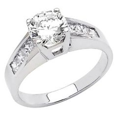 14K White Gold High Poliosh Finish Round-cut 1.80 CTW Equivalent Top Quality Shines CZ Cubic Zirconia Ladies Solitaire Wedding Engagement Ring Band Wedding Ring Finger REVIEW