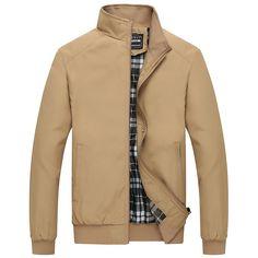 Partiss Men's Slim Fit Long Sleeve Stand Collar Jacket Chinese XXL, Khaki